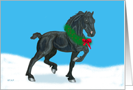 Black Friesian Christmas Colt with Wreath