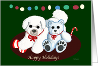 Bichon Frise and Teddy Bear Happy Holidays