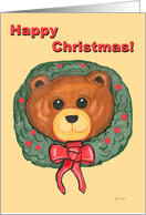 Happy Christmas Teddy Bear head in Wreath