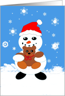 Snowman with Teddy Bear