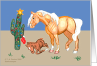 Western Mare and foal with cactus christmas