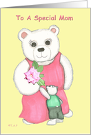 White Teddy Mom in pink gown with cub giving flower