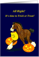 Trick or Treat Clydesdale Horse Colt with Jack o Lanterns