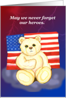 Sad Bear with American Flag