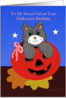 Halloween Birthday Girl Cat in Jack O Lantern