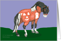 Pinto Pony with Halloween symbols and cat shaped mane and mask.