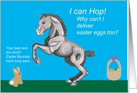 Foal wanting to deliver eggs with easter basket and bunny
