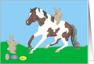 Paint Horse slide with bunny on top and bunny with eggs
