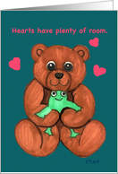 valentine teddy bear and frog w/ hearts