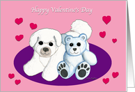 Bichon Frise Dog and Teddy Bear Valentine