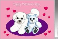 Bichon Frise Dog and Teddy Bear Valentine